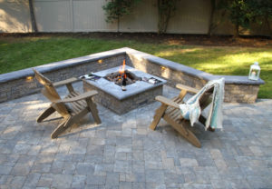 StoneLedge Wall & StoneLedge Fire Pit in Fieldstone | Rock Face Wall Caps in Charcoal