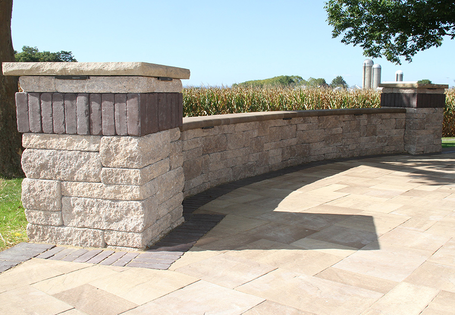 Napa Wall & York Tile Pavers in Coastal Tan | Rock Face Flat Top Column Caps in Sand