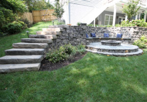 Rosetta Belvedere Wall, Dimensional Steps & Belvedere Fire Pit in Canyon