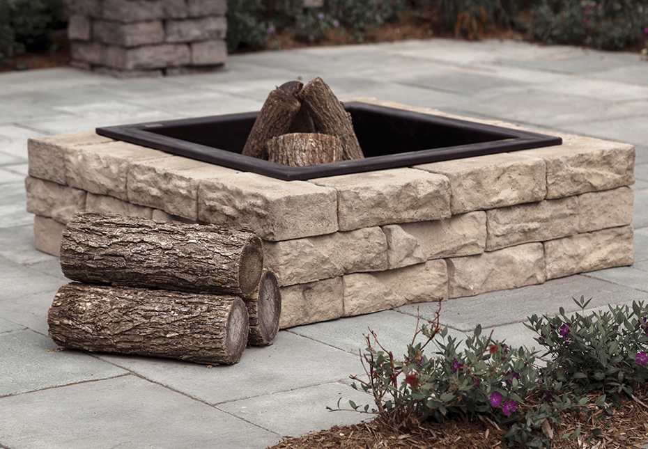Rosetta Dimensional Square Fire Pit in Saddle