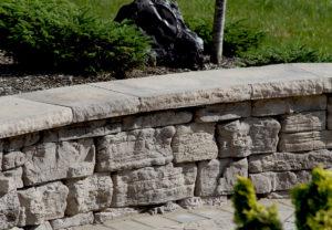 Rosetta Dimensional Coping & Column Caps & Rosetta Belvedere Wall in Saddle