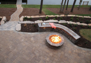 Terrace Stone Pavers in Mesquite   Belvedere Wall & Belvedere Fire Pit in Canyon