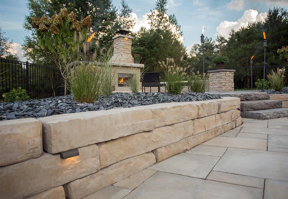 Flagstone Patio With Retaining Wall
