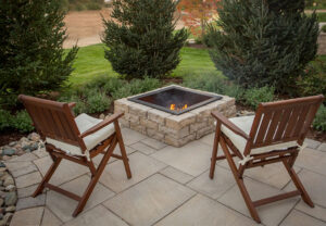 Dimensional Square Fire Pit & Dimensional Flagstone in Saddle