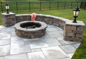 Belvedere Wall, Dimensional Coping & Column Caps & Belvedere Fire Pit in Canyon