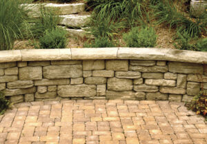 Dimensional Coping & Belvedere Wall in Saddle