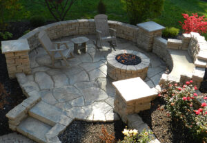 Grand Flagstone, Belvedere Wall & Belvedere Fire Pit in Canyon