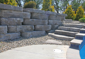 Irregular Steps & Outcropping Wall in Ash