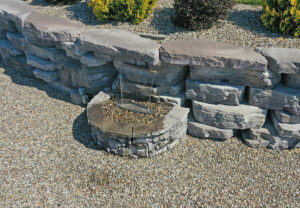 Outcropping Wall & Belvedere Wall & Coping in Ash