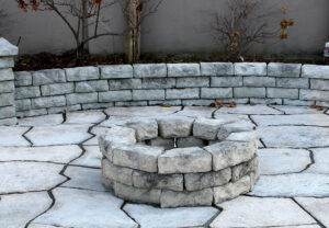 Dimensional Round Fire Pit in Ash