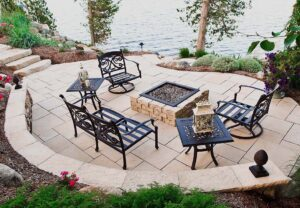 Dimensional Square Fire Pit in Saddle