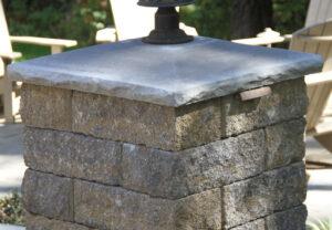 Rock Face Light-Top Column Cap in Granite | Stoneledge Wall in Fieldstone