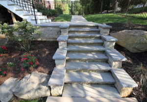 Rock Face Wall Caps & Stair Treads in Charcoal
