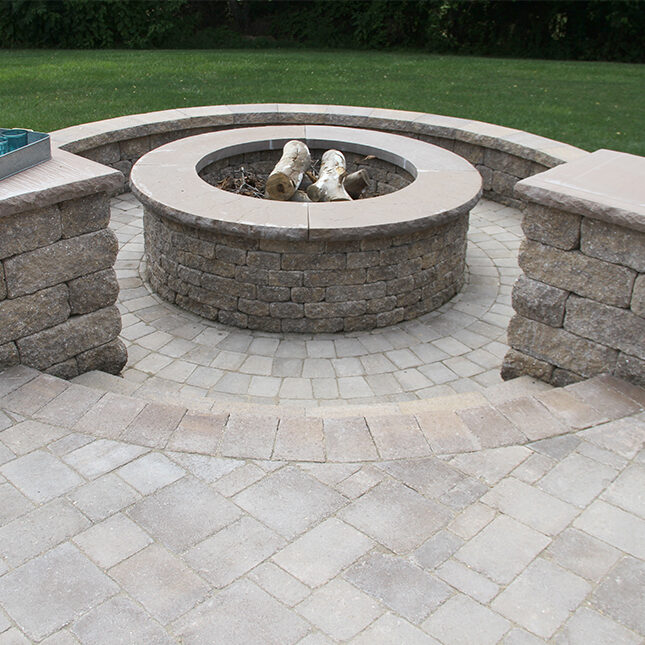 Rock Face Flat Column Cap in Sand   Stoneledge Fire Pit & Napa Wall in Mesquite